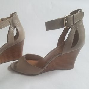 Nine West nude wedge heels with ankle strap